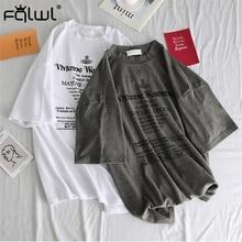 FQLWL Letter Print Cotton Ladies White Oversized T Shirt Women Tee shirt Harajuk