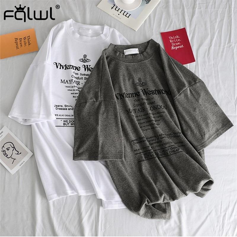 FQLWL Letter Print Cotton Ladies White Oversized   T     Shirt   Women Tee   shirt   Harajuku Tshirt Female Top Summer   T  -  shirt   Pulovers 2019