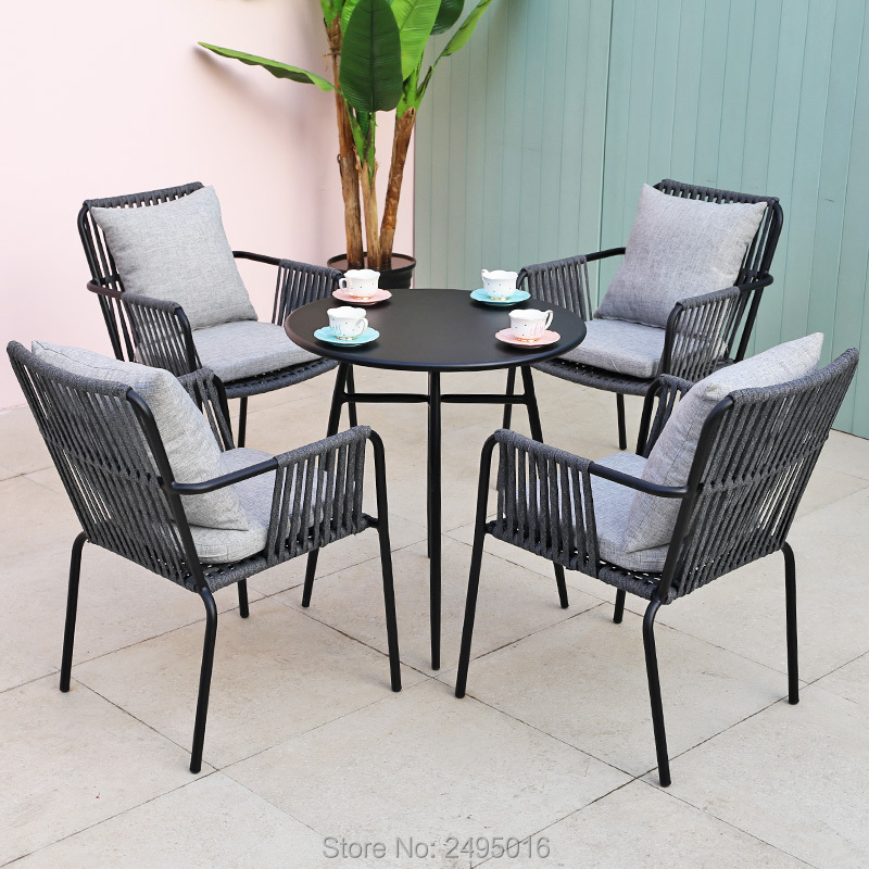 5-piece Outdoor Woven Rope Furniture Dining Set For Restaurants, Cafes With Cushions All Weather,anti-Rust