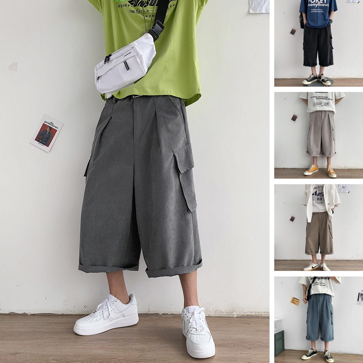Privathinker Men Summer Pockets Solid 2020 Wide Leg Pants Mens Casual Joggers Male Korean Trousers Fashion Calf-length Pants