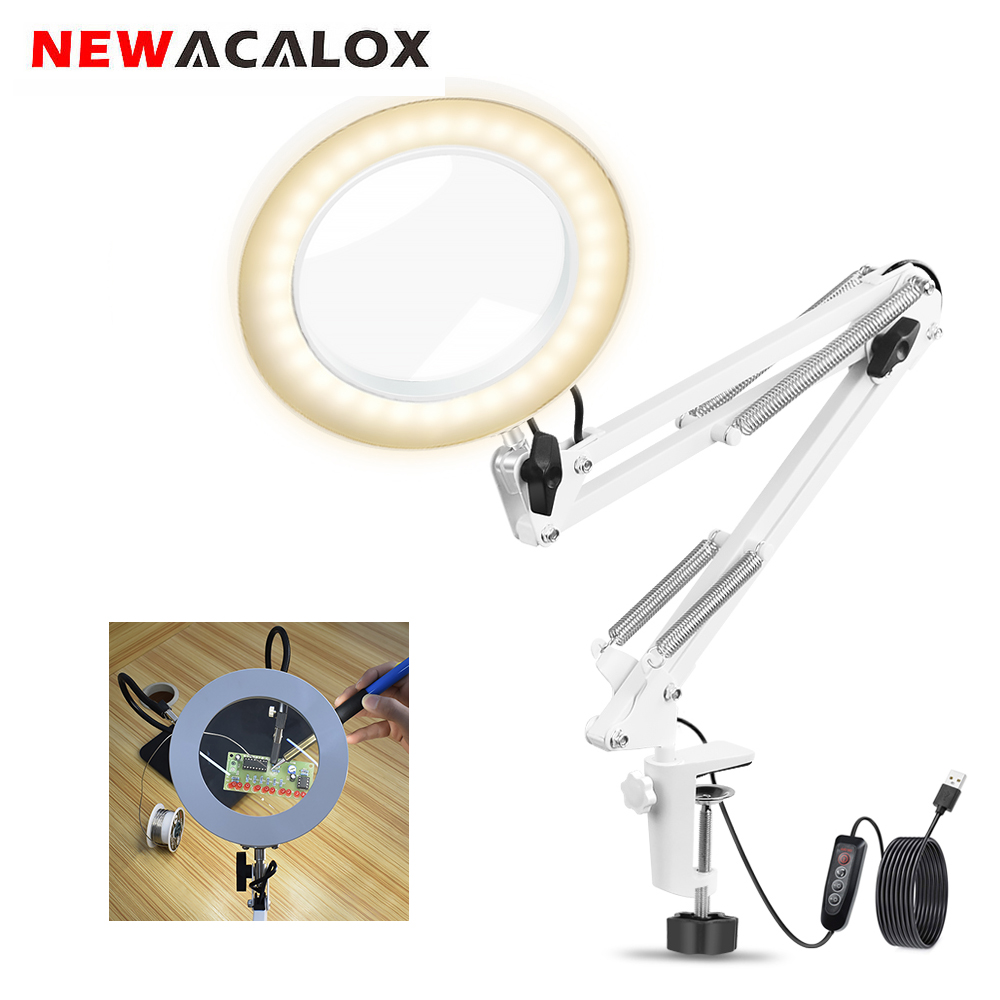 NEWACALOX USB 5X White Folding Magnifier Table Clamp Soldering Third Hand Tool 3 Colors LED Illuminated Lamp Magnifying Glass