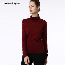 Пуловер женский из 100% шерсти с высоким воротом однотонный