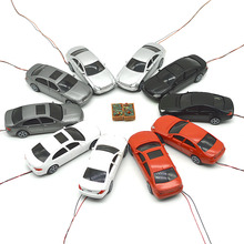 20pcs 1/50 scale model LED lighting car toys miniature color transportations for diorama architectural road street scene making цена и фото