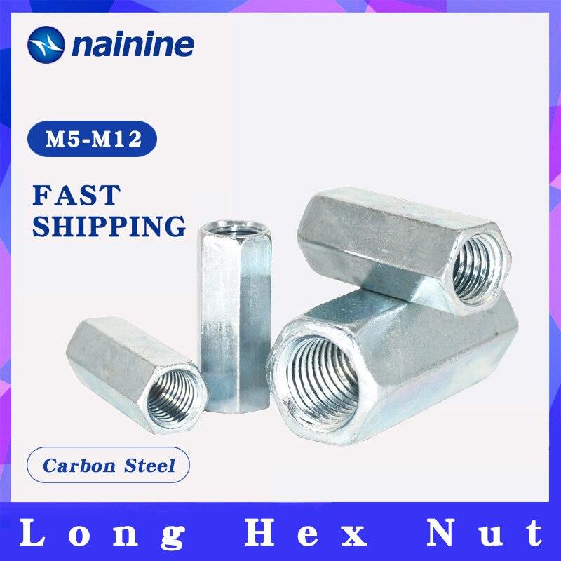 2/5Pcs M5 M6 M8 M10 M12 Rod Coupling Hex Nut Steel Galvanized Long Hex Nut Connection Thread Nut
