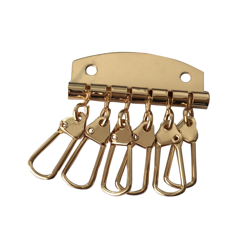 1 x Metal key holder key row keyring organnizer with 6 snap hook for Leather craft wallet key case purse bag hardware