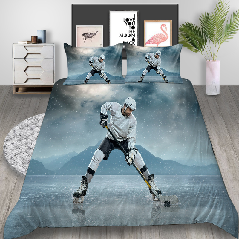 Thumbedding Ice Hockey Player Bedding Set King Fashion Classic Duvet Cover Queen Twin Full Single Double Unique Design Bed Set