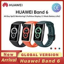Huawei banda 6 pulseira inteligente original 2-week vida útil da bateria bt 5.0 spo2 monitoramento fullview monitor de freqüência cardíaca rastreador