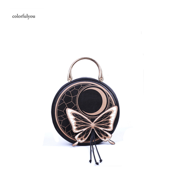 Gothic style Round bag women handbag Black butterfly moon shoulder bag Metal handle tote bags high quality PU leather lolita bag