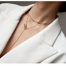Collier Double ras du cou pour femme, chaîne de clavicule, bijoux à la mode, personnalité contractée, Long pendentif