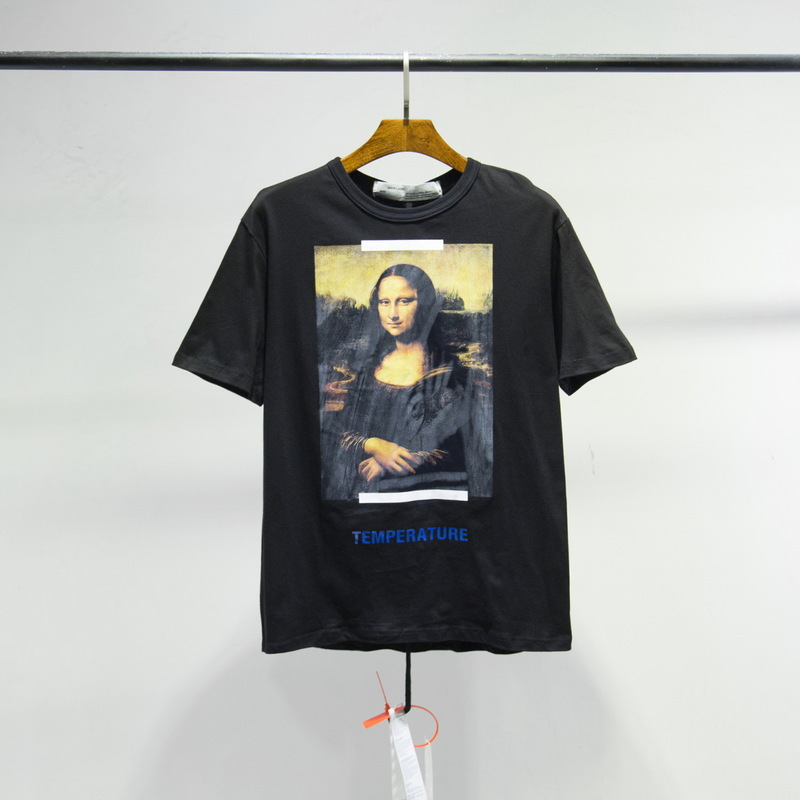 Off Mona Lisa Short Sleeve T-shirt Ow White Europe And America Popular Brand European Version Of The Large Size Loose-Fit Men An