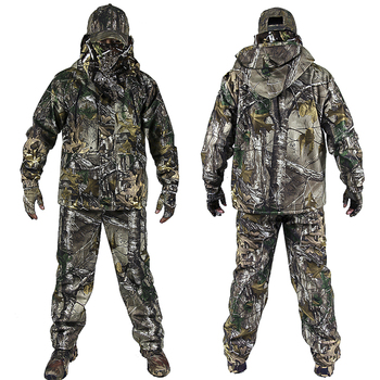 Men's Outdoor Bionic Winter Camouflage Clothes Hunting Clothing Winter Hunting Suits with Fleece Ghillie Suit 1