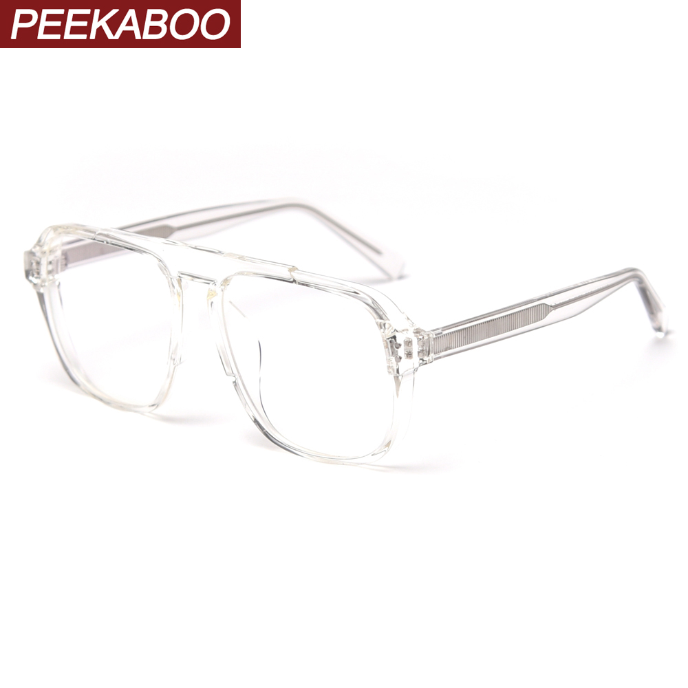 Peekaboo Clear Oversized Glasses Optical Women Tr90 Big Fashion Black Transparent Eyeglasses For Men Acetate High Quality