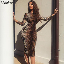 Nibber autumn winter hot Leopard party night dress women 2019Elegant sexy club bodycon midi dress stretch Slim Basic dress mujer