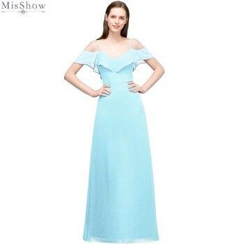 Vestido de noche largo de chifón azul cielo 2019 elegante vestido de noche de línea Borgoña vestido Formal sin mangas de noche