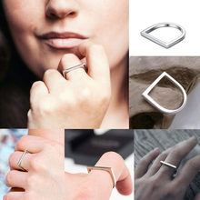 Popular Hip Hop Stainless Steel Ring for women Ladies Simple Geometric Punk Personalized Finger Ring Minimalist Women Jewelry(China)
