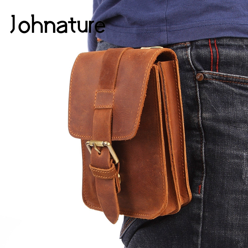 Johnature Retro Men Waist Bag 2020 New Crazy Horse Leather Belt Pouch Mountaineering Small Bags Male Casual Cowhide Mobile Bag