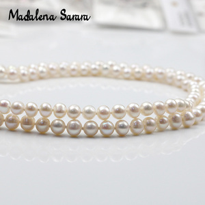 Image 4 - MADALENA SARARA AAA 7 8mm freshwater pearl necklace Two Rows, the brightest, flawless Natural White