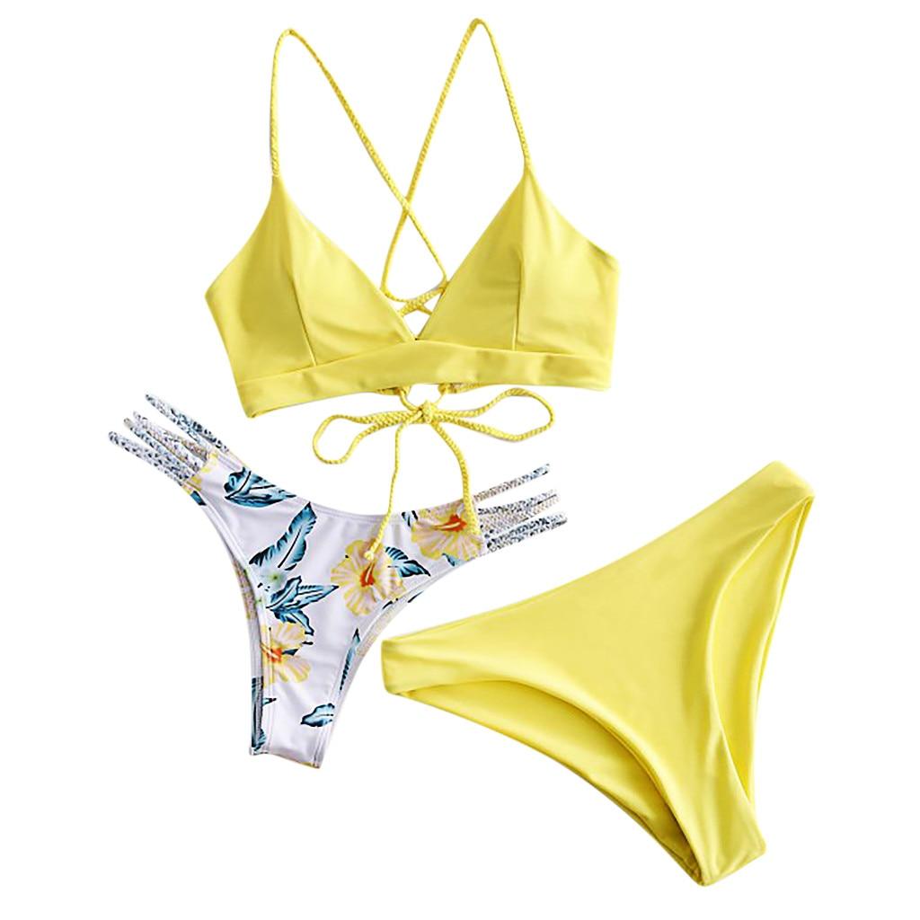 38# 3 Pcs Women Bikini Set Floral Print Set Swimsuit Three Piece Filled Bra Swimwear Women Beachwear Summer Swimwear Vestidos|Bikini Set|   - AliExpress