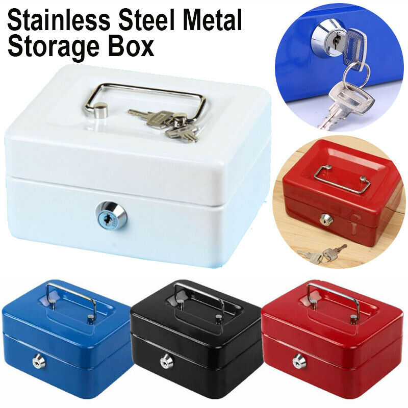 Metal Cash Box Money Bank Deposit Steel Tin Security Safe Petty Key Lockable Cash Box