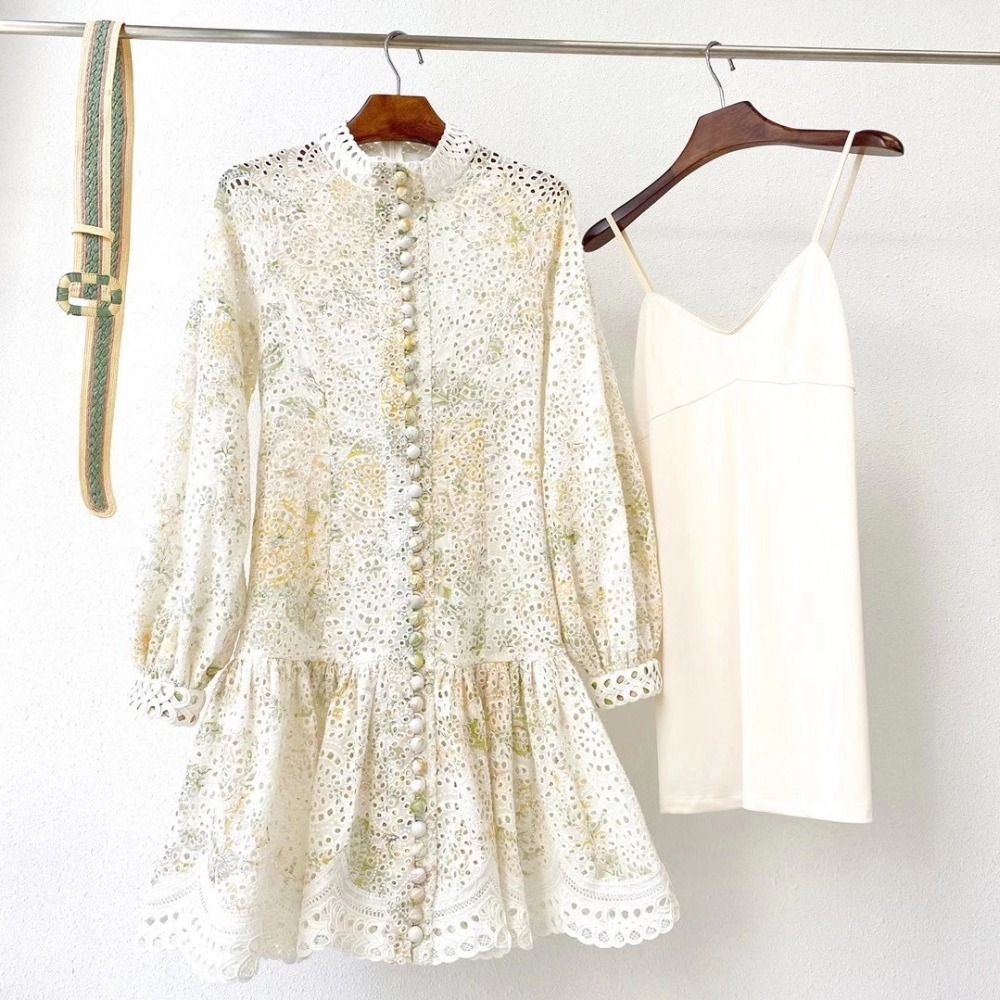 2020 Linen Yellow Green Floral Hollow Long Sleeve Stand Collar Lace Mini Dress