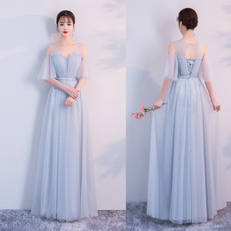 Bule Gray Junior Burgundy Bridesmaid Dresses Plus Size Elegant V-neck A-line Sexy Prom Long Floor-length Vestido Azul Marino