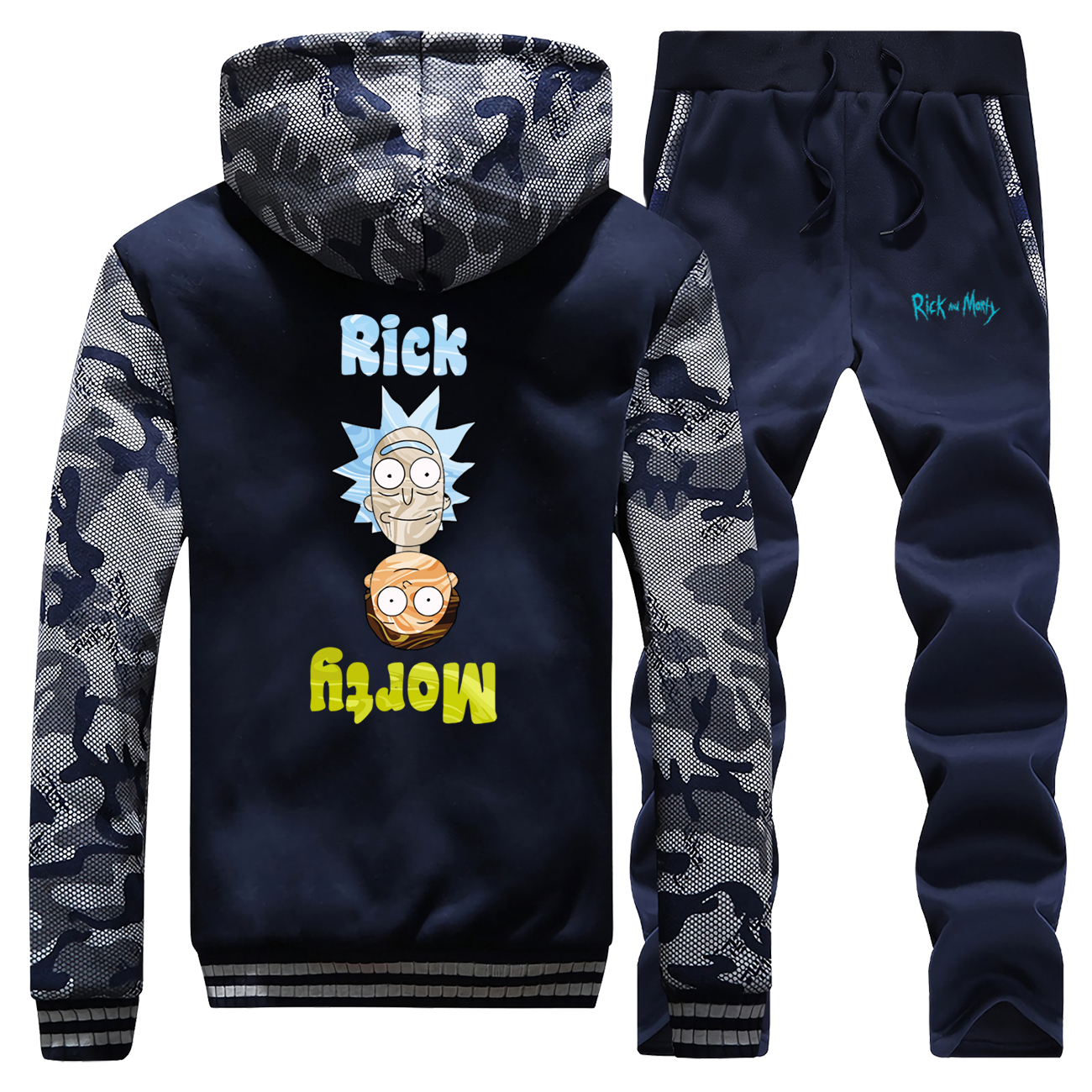 Rick And Morty Funny Printed Mens Hoodies Sweatshirt+Pants 2 Piece Sets Warm Hoodie Winter Jacket Tracksuit Thick Fleece Coat