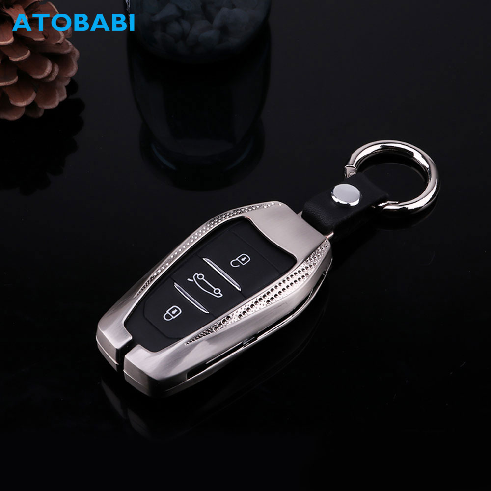 Zinc Alloy Car Key Case For Citroen C5 Peugeot 508 408 308 5008 3008 2008 Smart Remote Control Fob Cover Keychain Protector Bag image