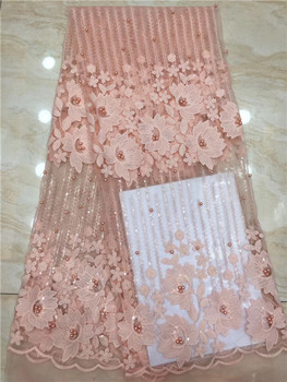 Peach Color french beaded lace fabrics 2019 3d embroidery flower sequins fabric luxury full beaded bridal lace fabric 5yards X8