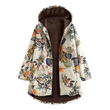 Women Winter Coat Warm Outwear Leaves Floral Print Hooded Pockets Oversize coat women Vintage Button Cotton Linen Outwear(China)