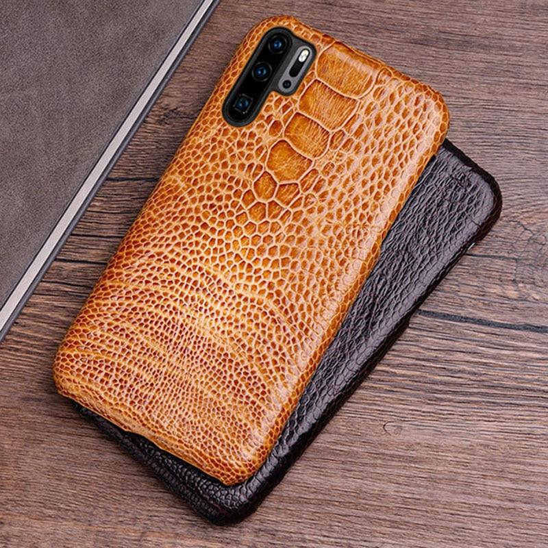Téléphone étui pour huawei P20 P30 lite Mate 10 20 Pro lite Y6 Y9 2018 P Smart 2019 peau d'autruche naturelle pour Honor 7A 7X8X9 10 lite
