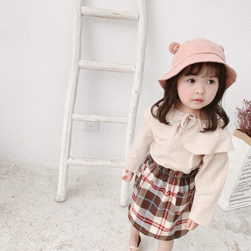 Children's skirt 2019 Korean Cotton Casual Girl Plaid Skirt Autumn Baby Leisure Half length Skirt Children's Skirt