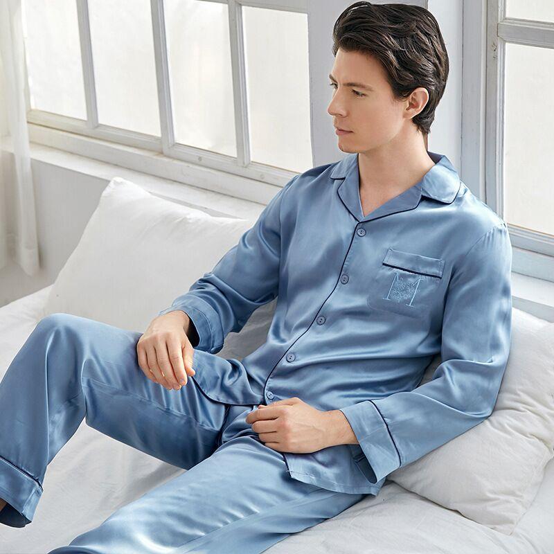 High-grade 100% Mulberry Silk Sleepwear Real Natural Silk Long Sleeve Men Pajama Sets Nightwear Male Pyjama Homewear
