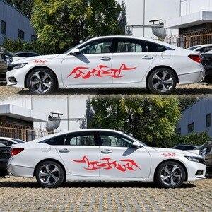 Image 5 - מכונית פס מדבקות צד גוף ארוך פס ויניל להבת מדבקות קישוט מדבקות לרכב מדבקות חדש