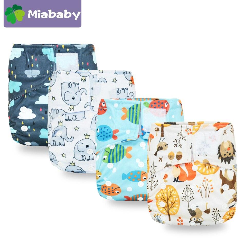 Miababy тканевый подгузник на липучке, с одним карманом, водонепроницаемый и дышащий, для детей 5-15 кг