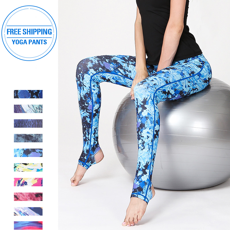 2019 Running Fitness Yoga Pants Women Workout Print Leggings Training Elastic Long Tights Trousers For Dancing Tummy Control