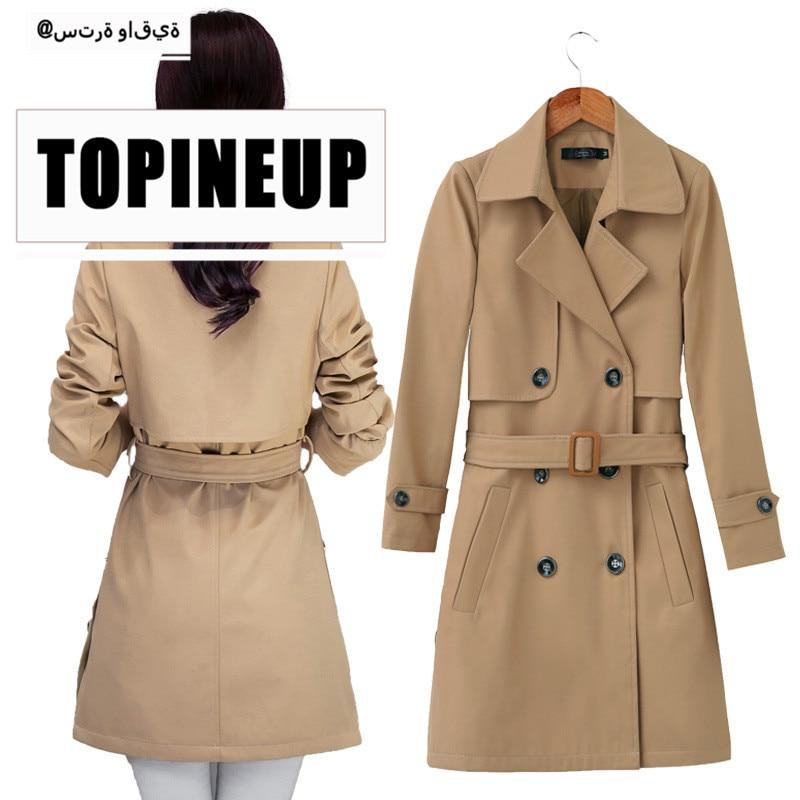 3 colors female belt windbreaker spring autumn Korean style double breasted slim   trench   coat for business women wear