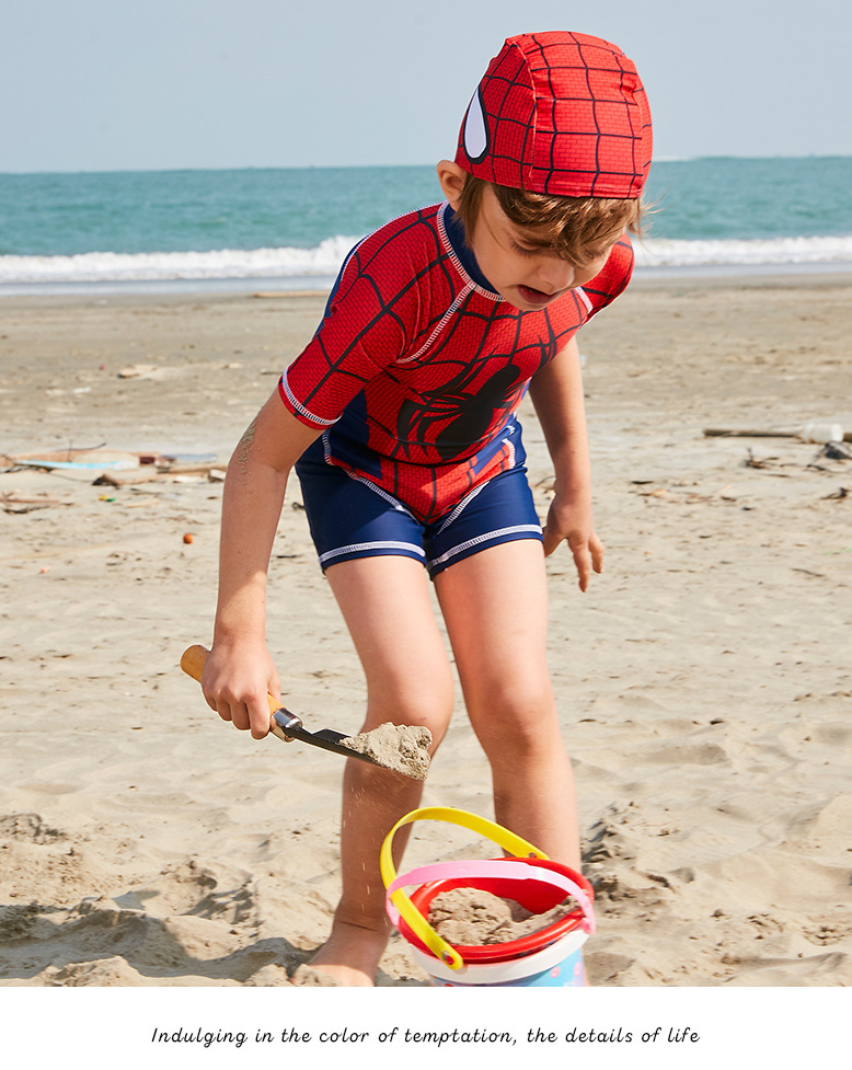 2018 CHILDREN'S Swimsuit New Style Spider-Man Short Sleeve Shorts One-piece Comfortable Breathable Quick-Dry Bathing Suit Diving