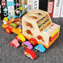 Holz Multi-funktionale Form Passenden Bausteine Bead Maze Warenkorb Kinder Hand-Auge Koordination Frühen Kindheit Mathematik