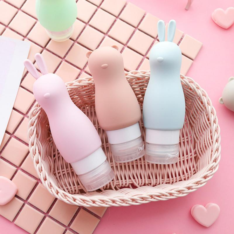 10Color Thickened Silicone Refillable Bottle 90ml Portable Eco-friendly Cartoon Animal Bottle Outdoor Travel Cosmetic Container