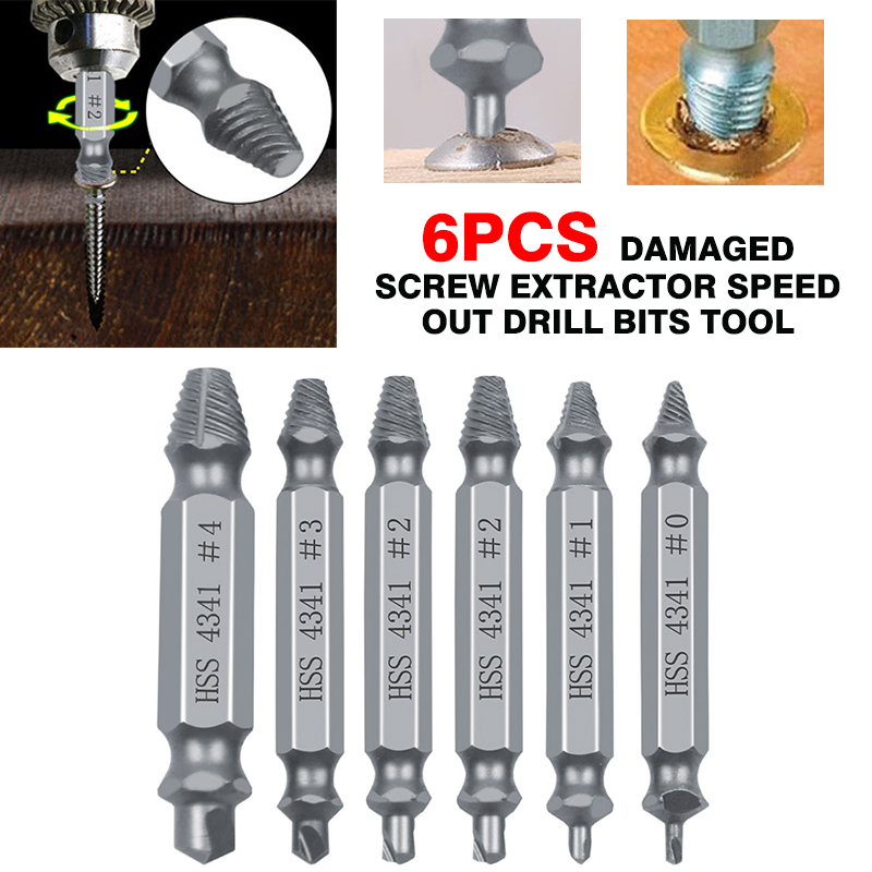 6pcs/set Repair Tool Damaged Screw Extractor Speed Out Drill Bits Tool Set Broken Bolt Remover Hand Tool Parts 2019 New