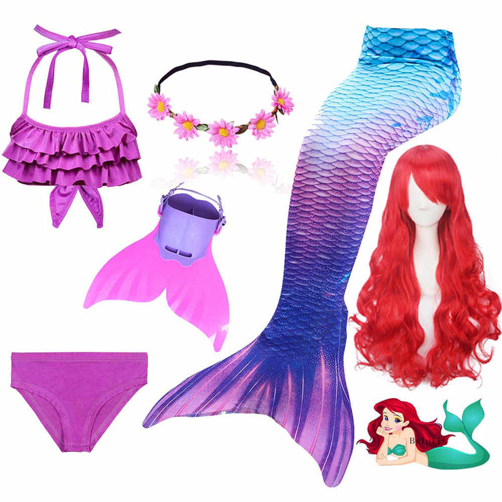 Kids Children Mermaid Tails for Swimming with Monofin Flippers Wig Girls Cosplay Fancy Costume New Bikini Suit Bathing Swimsuit
