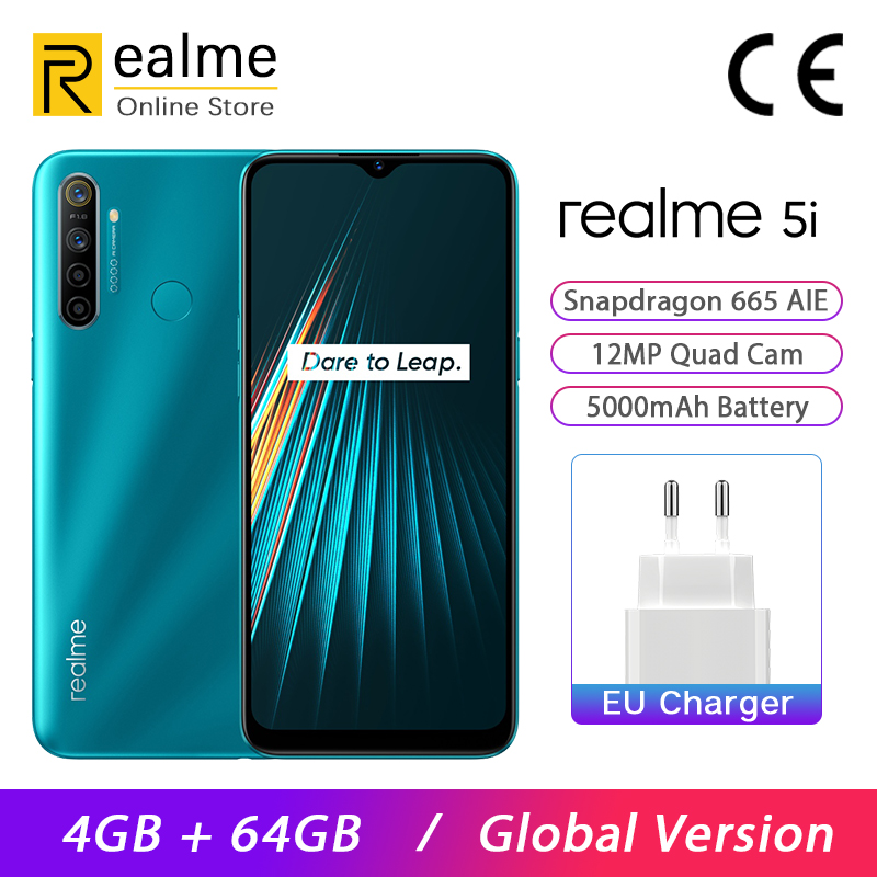Global Version Realme 5i Smartphone 4GB 64GB Mobile Phone Snapdragon 665 AIE 6.5'' Mini-Drop 12MP Quad Camera 5000mAh Android P
