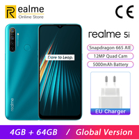 Global Version Realme 5i Smartphone 4GB 64GB Mobile Phone Snapdragon 665 AIE 6.5'' Mini Drop 12MP Quad Camera 5000mAh Android P