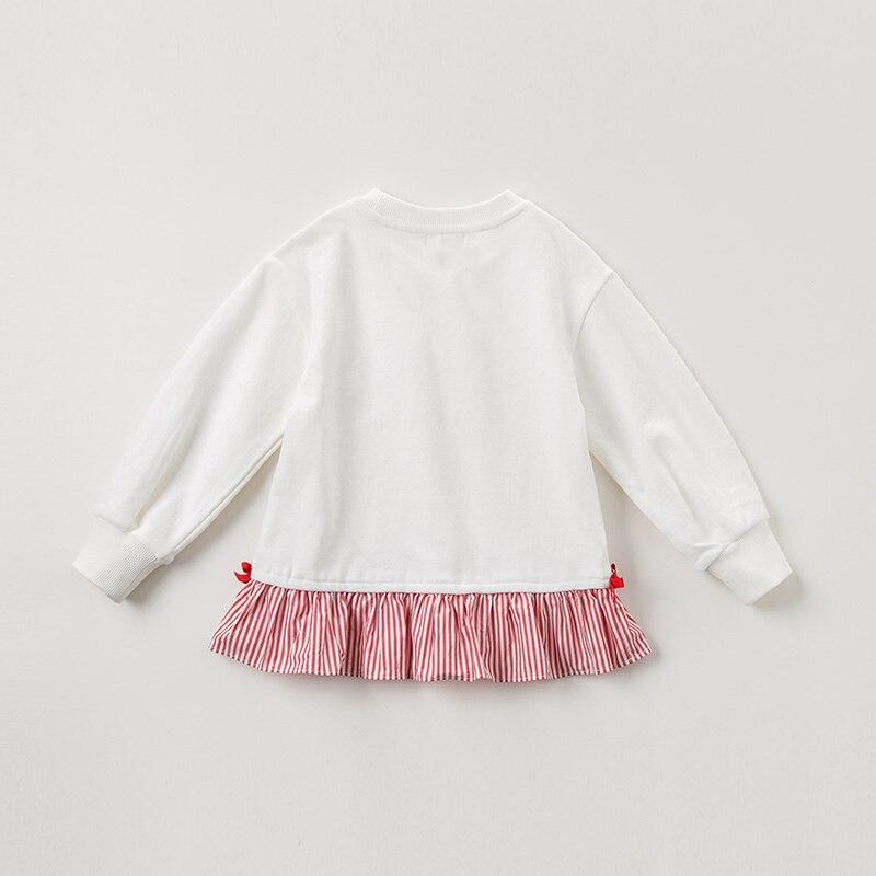 DBK10672 dave bella automne 5Y-13Y enfants vêtements enfants doux arc dessin animé rayé T-shirt filles de haute qualité mode t-shirts - 3