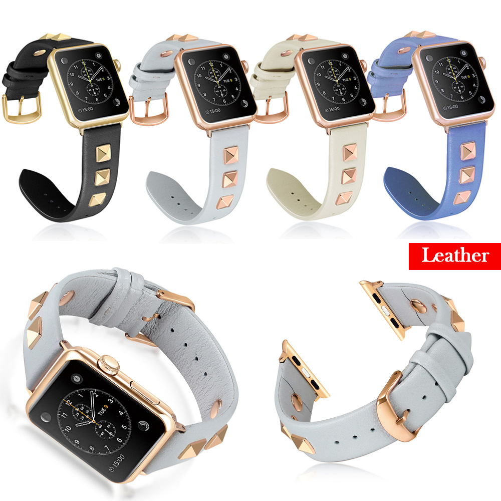 Watchband for Apple Watch Series 4 3 2 1 Luxury Rivet Style Wristband Bracelet Men/Women Leather Strap For iwatch 40/44/38/42mm