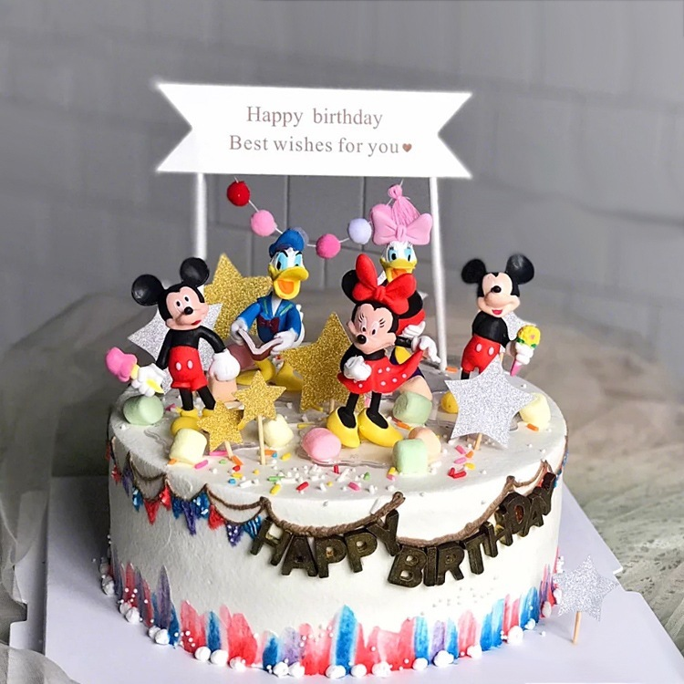 6 Pcs Model Anime Figure Mouse Donald Duck Mickey Minnie Baking A Cake Decoration Doll Action  Toy Figures