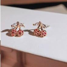 Милые золотые серьги гвоздики в форме вишни для женщин с блестящим