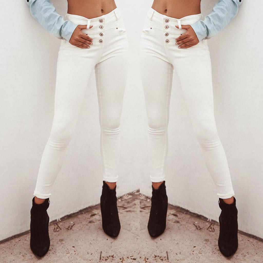 2020 Women jeans High Waist Ripped jeans for women Casual Denim White Skinny Long  Trousers Leggings slim Pants Jeans mujer  S10