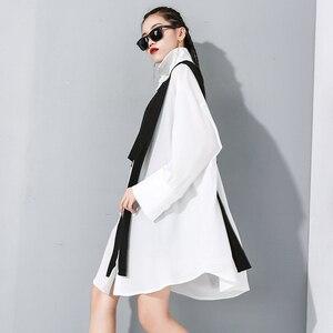 Image 2 - [Eam] feminino preto divisão conjunta tamanho grande duas peças blusa nova lapela manga longa solto ajuste camisa moda primavera outono 2020 1m889