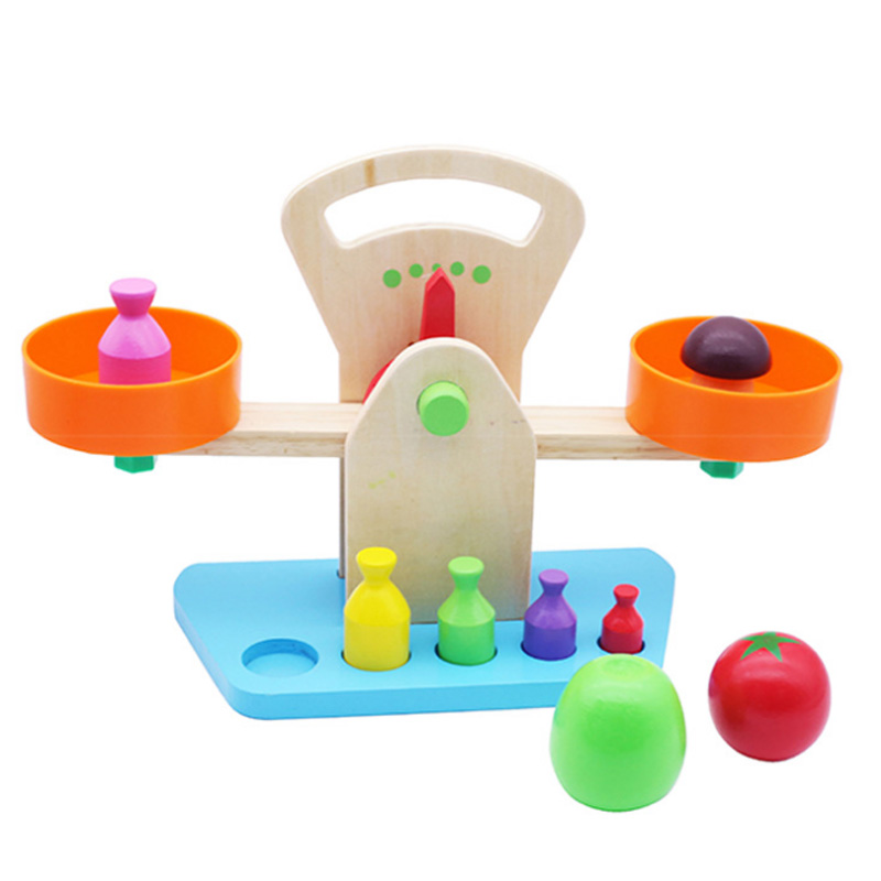 Hot Hot 1 Set Early Educational Wooden Toys Baby Balance Toy Scales Weighing Hands-on Teaching Children's Simulation Toys D119